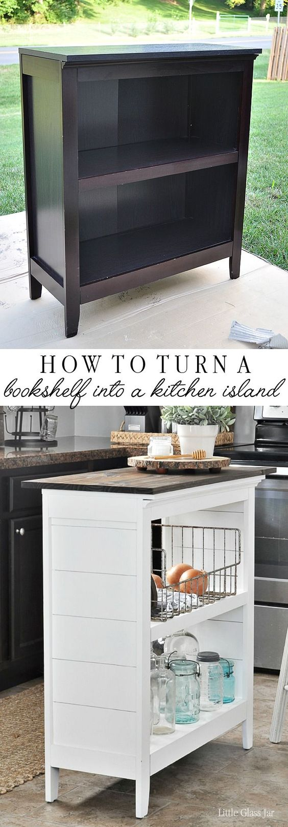 SUPER CLEVER! Turn an old bookcase into a kitchen island!