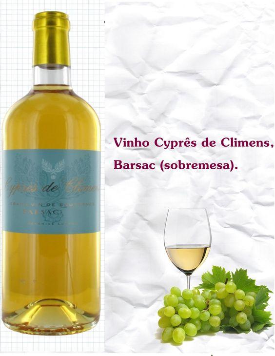 VINÍCOLA: Castelo Climens REGIÃO: Barsac- Bordeaux CARACTERÍSTICAS: È um dos maiores mundias.Feito com uvas Sémillon,que deixa mais leve e suave, um vinho de sobremesa.