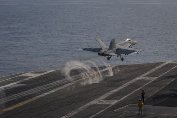 ARABIAN GULF (April 1, 2015) An F/A-18E Super Hornet assigned to the Sunliners of Strike Fighter Squadron (VFA) 81 launches from the aircraft carrier USS Carl Vinson (CVN 70). Carl Vinson is deployed in the U.S. 5th Fleet area of responsibility supporting Operation Inherent Resolve, strike operations in Iraq and Syria as directed, maritime security operations, and theater security cooperation efforts in the region. (U.S. Navy photo by Mass Communication Specialist Seaman D'Andre L…