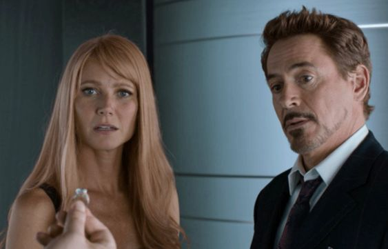 Gwyneth Paltrow and Robert Downey Jr in Iron Man 2