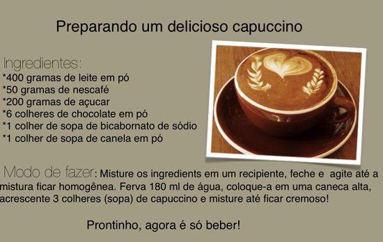 receita café capuccino - Pesquisa Google
