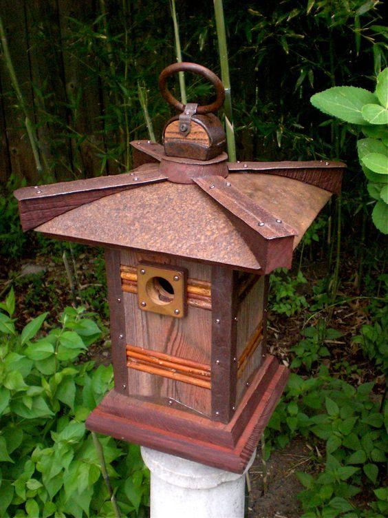 The pagoda japanese style birdhouse from reclaimed barn for Pagoda house plans