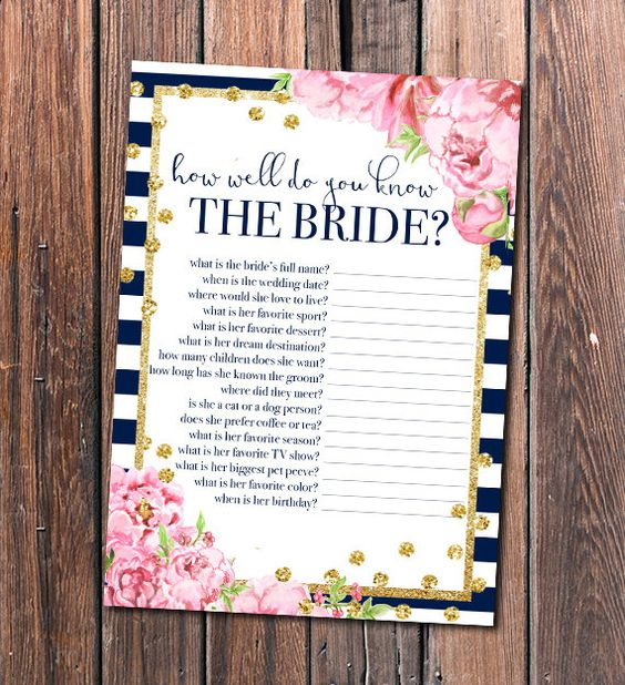 How Well Do You Know The Bride? Is A Great Bridal Shower