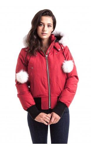 Moose Knuckles Debbie Bomber Jacket Deep Red With White Fur women