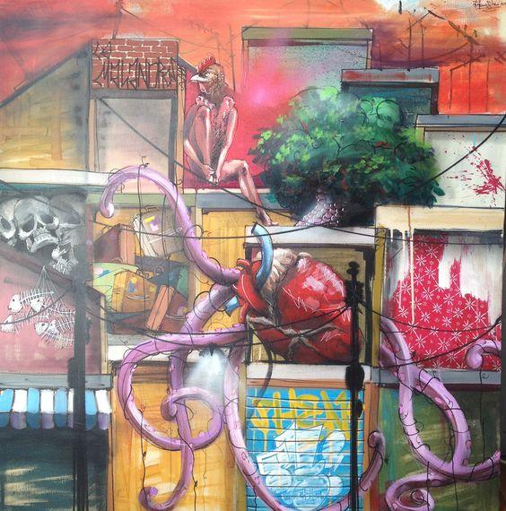 El universo plástico de Stefano Phen muestra una realidad paralela de nuestro entorno urbano: ciudades sumergidas, arboledas convertidas en bosques coralinos, elefantes subacuáticos, raíces que transmutan en tentáculos de cefalópodos... en definitiva, visiones lisérgicas donde asfalto y cables eléctricos son el marco de ecosistemas mutantes.