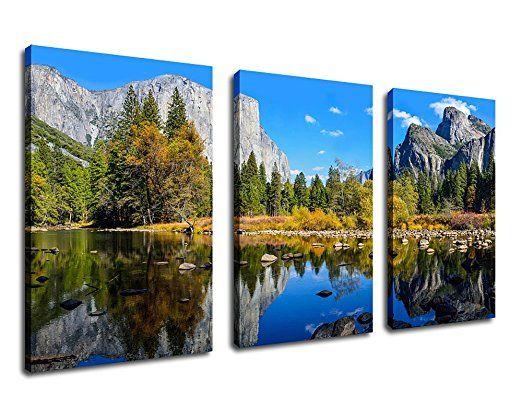 Canvas Wall Art Decor Nature Picture Mountain Lake 20 X 30 X 3 Pieces Large Canvas Art Yosemite Natio Large Canvas Art Canvas Artwork Painting Park Landscape