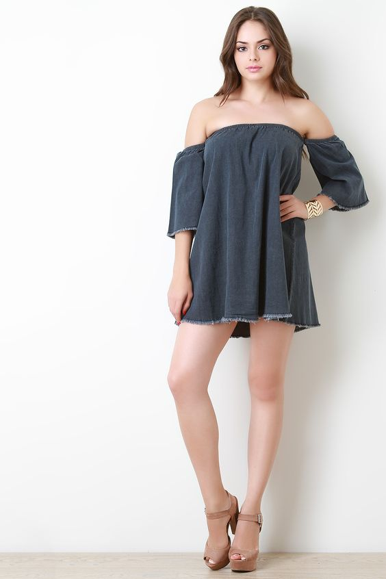 Bardot Denim Mini Swing Dress