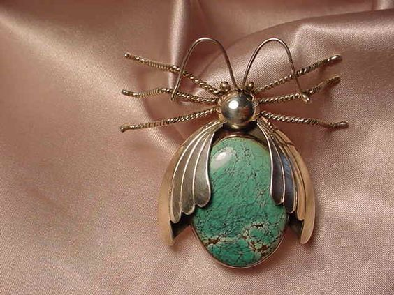 Turquoise Soul . . .Native american handmade sterling silver and turquoise beetle brooch