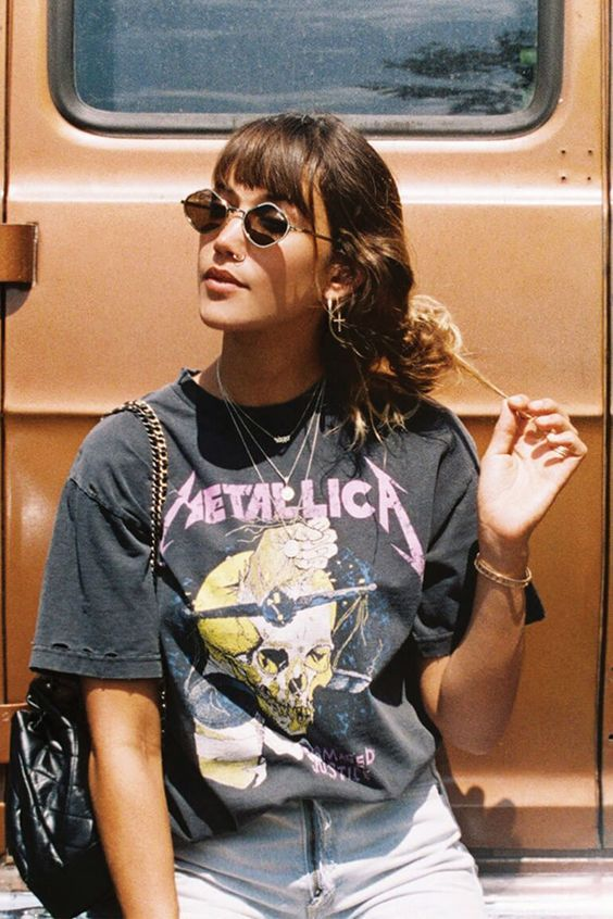 Ingredients For Your Outfit Of The Day Metallica Tee Jeans And Cool Sunglasses Ootd Rock Vintage Band T Shirts Vintage Tees Outfit Band Shirt Outfits