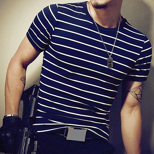 Fashion Men/'s Slim Fit Shirts Short Sleeve Casual Striped T-shirt Tee Tops