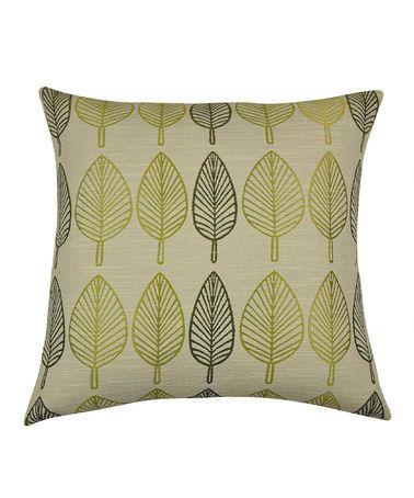 Green & Beige Falling Leaf Pillow - Set of Two