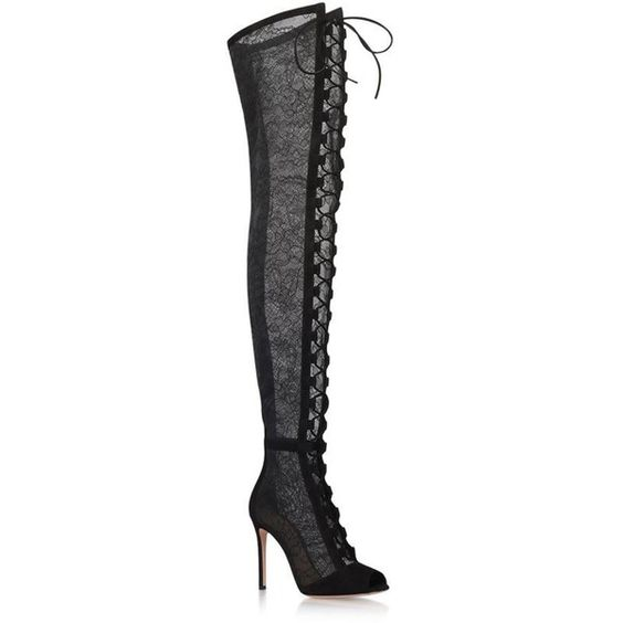 Gianvito Rossi Rebecca Lace Over-The-Knee Boots 1935  liked on Polyvore featuring shoes boots over the knee lace up boots lace up stilettos over the knee stiletto boots high heel stilettos and peep-toe boots