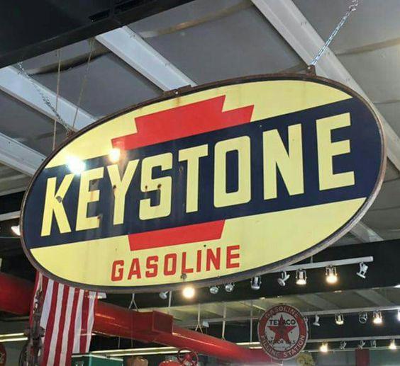 Original Keystone Gasoline Porcelain Sign