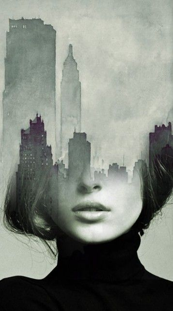 the fusion of the form of a face with an idea, here its the city shapes  could be used in many different ways: