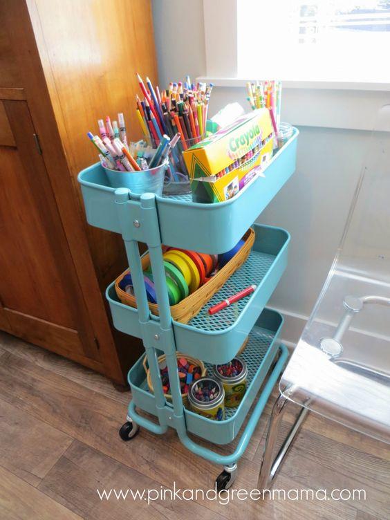 ikea cart makes for the perfect art craft cart kid 39 s art supply cart
