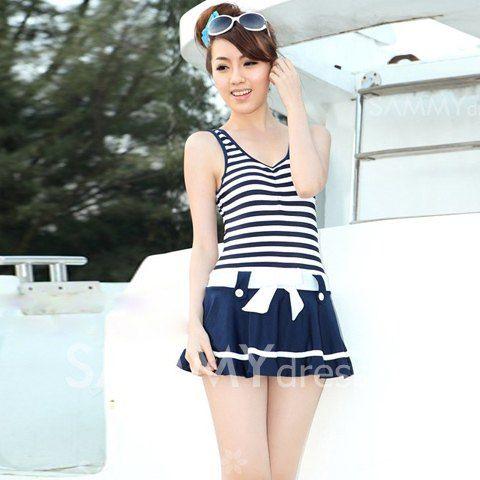 $16.64 Navy Stripe Pattern Scoop Neck Dress Style Pleated One Piece Swimwear For Women