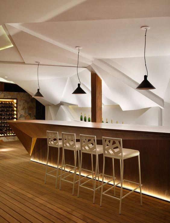 Conceptions de bars bar and interieur on pinterest for Meuble bar avec cave a vin