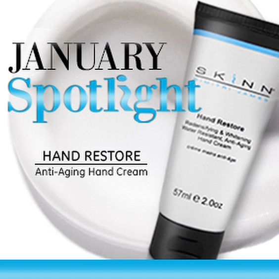 "Celebrate the new year with soft, supple, youthful-looking hands! Head to www.skinn.com to snag your very own Hand Restore for a special ""Spotlight"" price!"