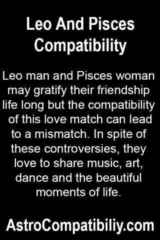 pisces female dating leo male Want to know the love compatibility factor between leo man and pisces in spite of the difficulties between them the leo and pisces combination male female.