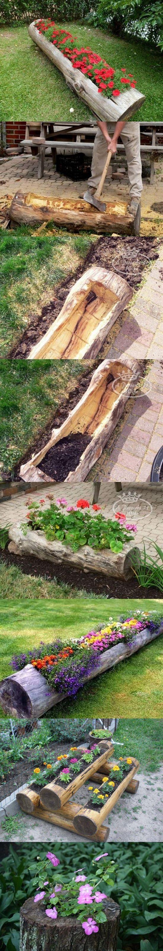 Make Beautiful Log Garden Planter: