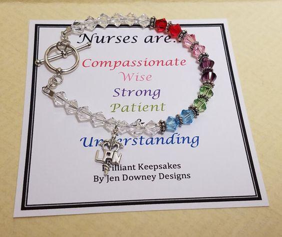Enfermera aprecio regalo pulsera recuerdo RN por BrilliantKeepsakes