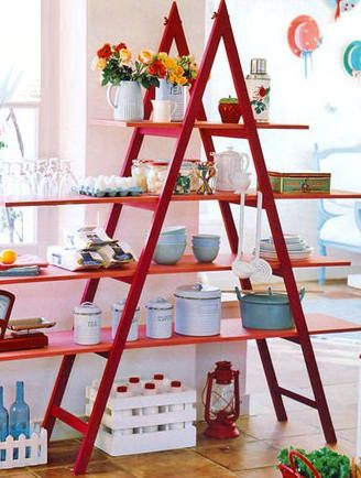 Ladder shelving in the kitchen