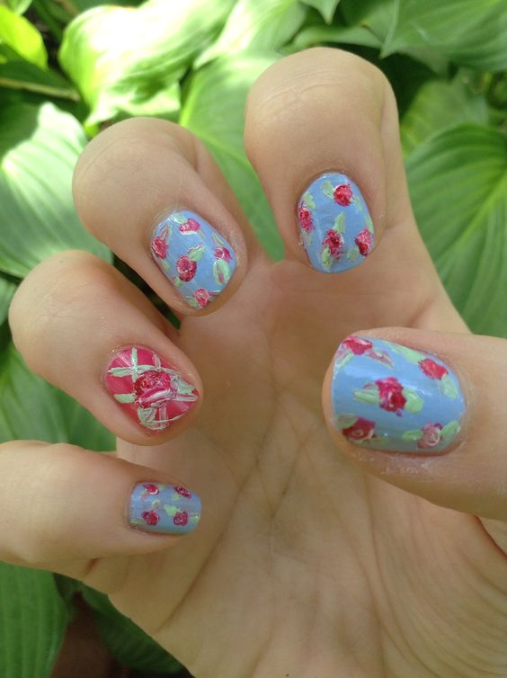 Floral nails my cousin did for me!