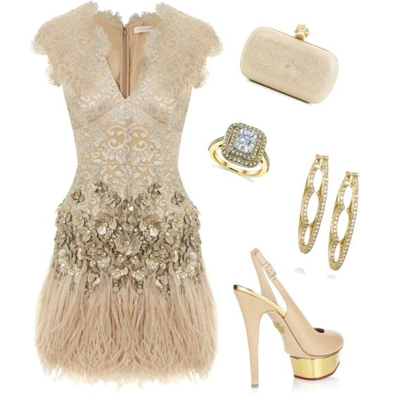 Gorgeous Lace & Feather Dress, created by nmille50 on Polyvore