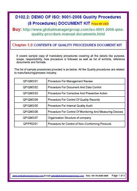 iso 9001 procedures templates - iso 9001 quality assurance procedures 8 qms procedures