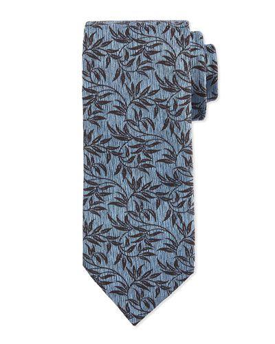 Paisley-Vine Printed Silk Tie