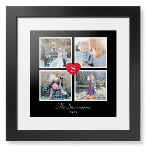 Heart initial collage framed print black contemporary none white single piece