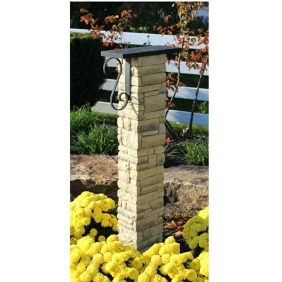 Mailbox Post with Decorative Scroll