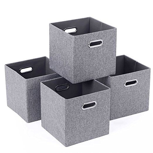 Bewishome Pack Of 4 Foldable Cube Storage Bins With Metal Handles For Closet Cube Organizers Bedroom Grey Cube Storage Bins Organization Bedroom Cube Storage