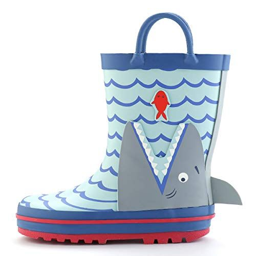Kids Rain Boots Waterproof Rubber Printed with Handles in Various Prints and Different Sizes