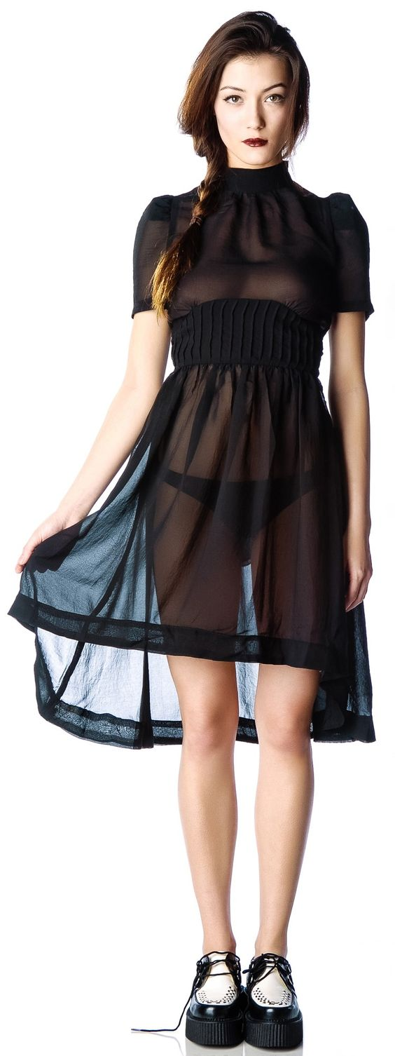 Widow chiffon dress | Dolls Kill http://www.dollskill.com/widow-funeral-society-chiffon-dress.html