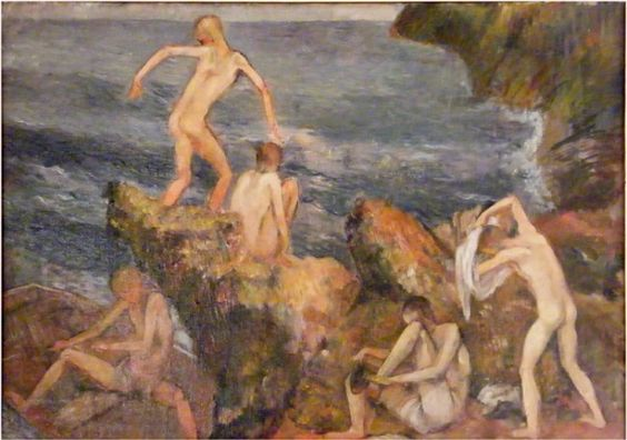 """On the Rocks,"" Bernard Karfiol, oil on canvas, 14 x 20"", McColl Fine Art."