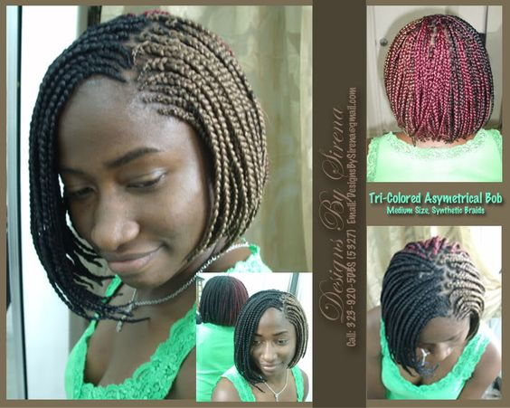 Hairstyles Braids With Color: Braided Bob . Love It Minus Tri Color