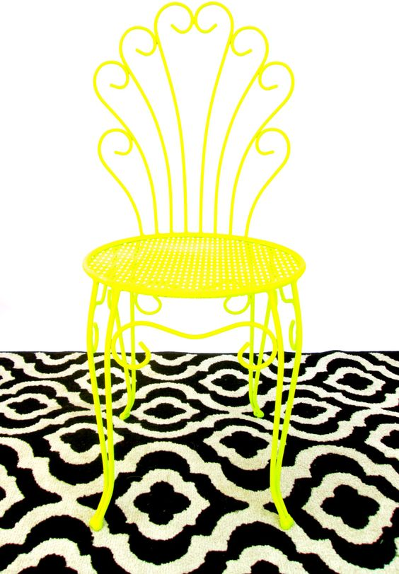 Vtg Neon Yellow Metal Vanity Chair || Modern Hollywood Regency Accent Seat || Color Pop Indoor / Outdoor Bistro Chair by ElectricMarigold on Etsy