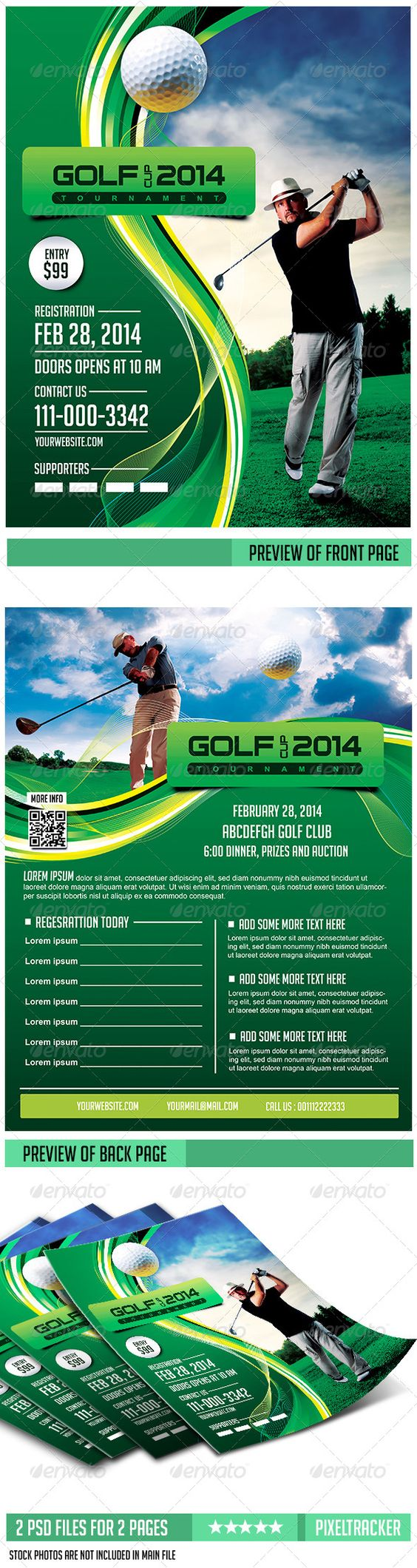 Golf Flyer Template - 2 Pages Download The full PSD Flyer Here…