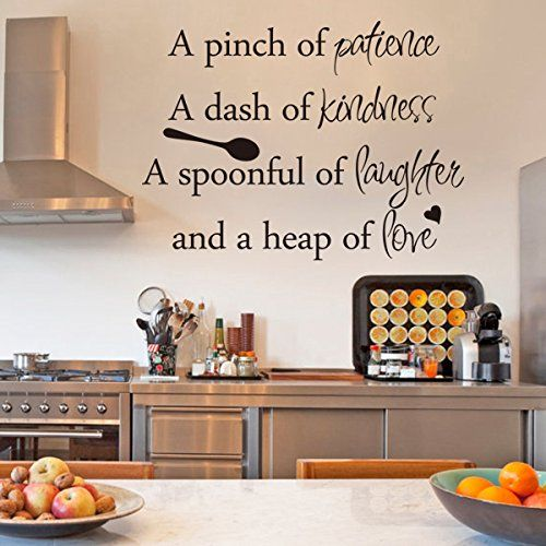 Inspirational wall sticker quotes words art removable for Black kitchen wall decor