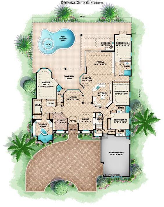 Florida Mediterranean House Plan 60416 Floor Plans