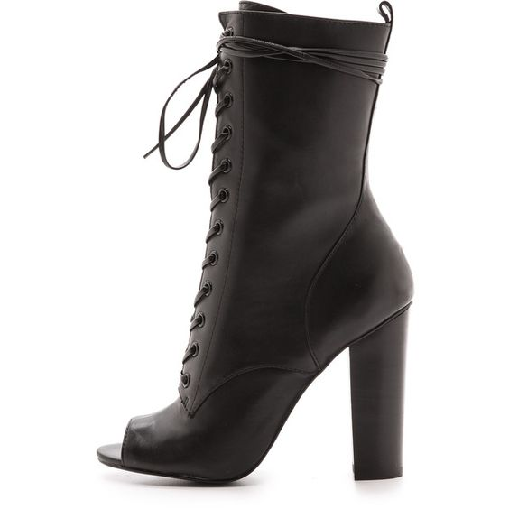 Steve Madden Steve Madden X Peace Love Shea Venice Booties - Black ($90) ❤ liked on Polyvore featuring shoes, boots, ankle booties, ankle boots, black booties, black leather booties, lace up ankle boots, black leather ankle booties and black wedge booties