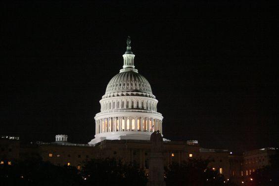 U S Capitol at night