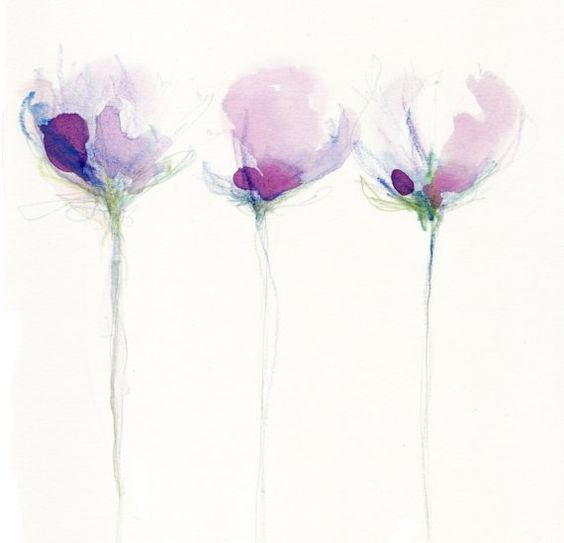 Simple violet, purple shades of summer blooms in pencil and watercolour. Print of an original painted in the summer in my garden in France.    Print
