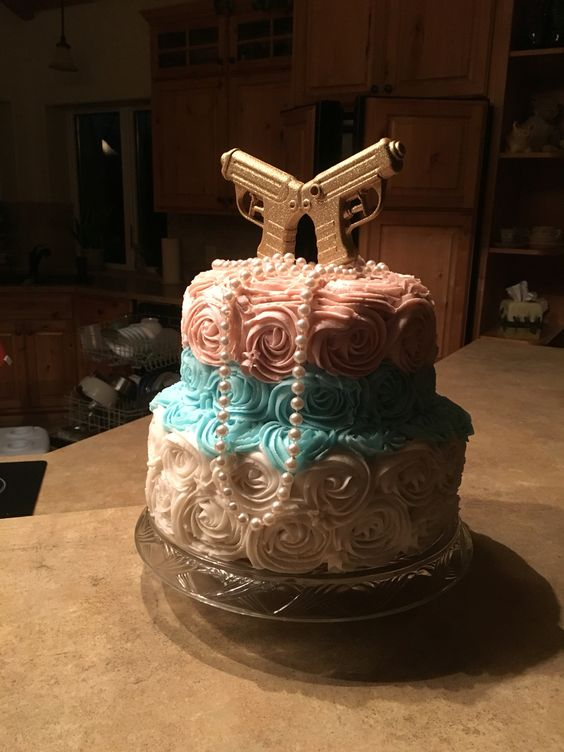 Pistols Or Pearls Gender Reveal Cakes Cupcakes