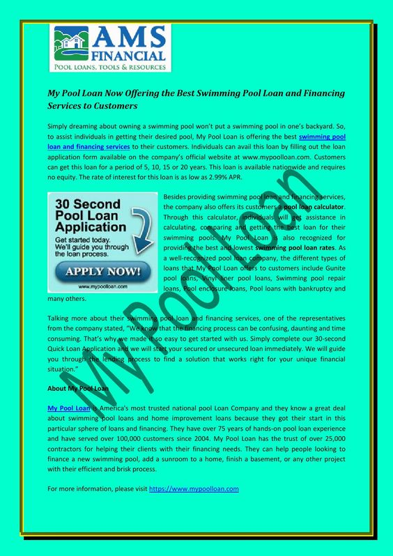 My pool loan now offering the best swimming pool loan and - Best way to finance a swimming pool ...