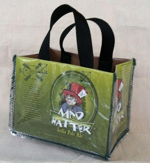 Fun purse made from a six-pack beer carton!  DIY tutorial.