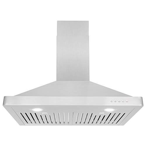 Cosmo 63175 30 In Wall Mount Range Hood 760 Cfm Ductless Convertible Duct Kitchen Chimney Style Over Stove Vent Led Light 3 Speed Exhaust Fan Permanent Filter Wall Mount Range Hood Range Hood Stove Vent