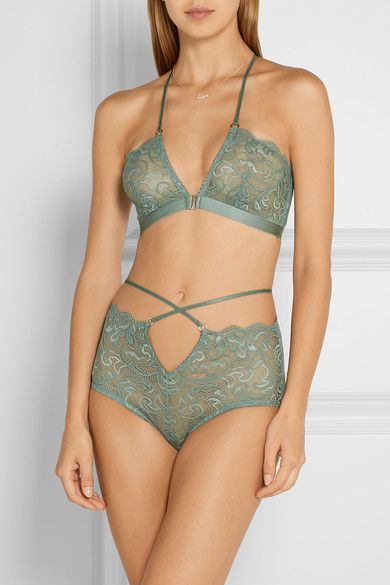 Grey-green stretch-lace Hook fastening at front 87% nylon, 13% spandex Hand wash Designer color: Mist Imported