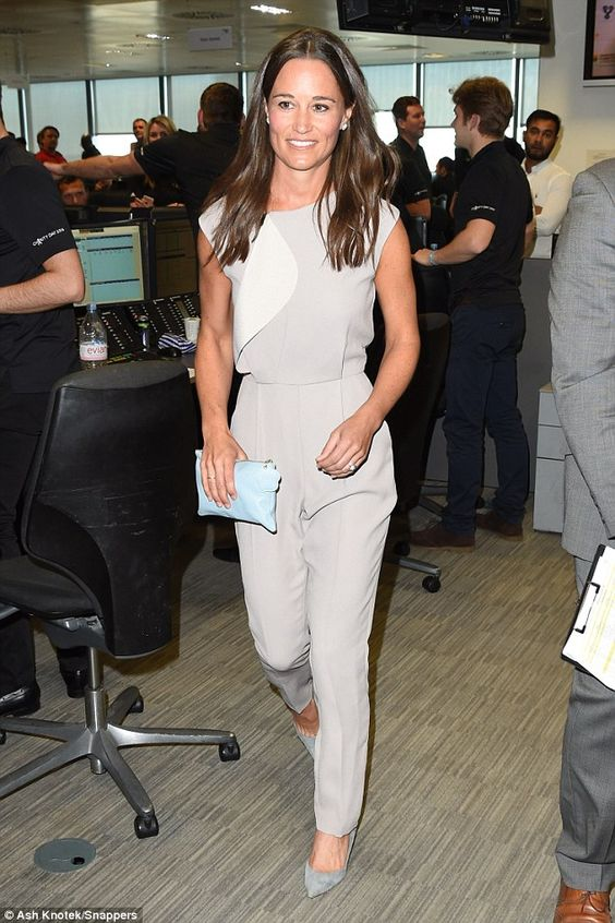 Pippa Middleton looked chic in grey as she arrived to take part in the 12th BGC Annual Charity Day at Canary Wharf in London, in commemoration of the 658 employees lost in the World Trade Center attacks on 9/11